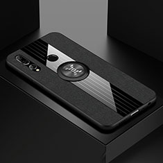 Funda Silicona Carcasa Ultrafina Goma con Magnetico Anillo de dedo Soporte T04 para Huawei Honor 20 Lite Negro
