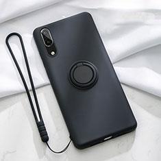 Funda Silicona Carcasa Ultrafina Goma con Magnetico Anillo de dedo Soporte T04 para Huawei P20 Negro