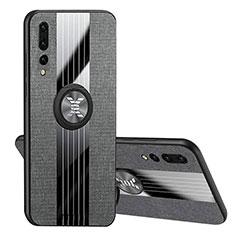 Funda Silicona Carcasa Ultrafina Goma con Magnetico Anillo de dedo Soporte T04 para Huawei P20 Pro Negro