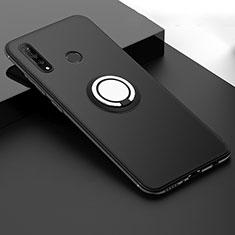Funda Silicona Carcasa Ultrafina Goma con Magnetico Anillo de dedo Soporte T04 para Huawei P30 Lite New Edition Negro