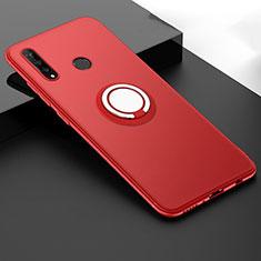 Funda Silicona Carcasa Ultrafina Goma con Magnetico Anillo de dedo Soporte T04 para Huawei P30 Lite Rojo