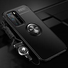 Funda Silicona Carcasa Ultrafina Goma con Magnetico Anillo de dedo Soporte T04 para Huawei P40 Pro Negro