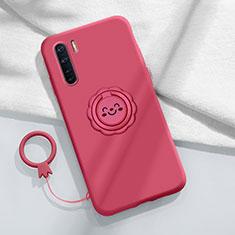 Funda Silicona Carcasa Ultrafina Goma con Magnetico Anillo de dedo Soporte T04 para Oppo Find X2 Lite Rojo Rosa