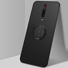 Funda Silicona Carcasa Ultrafina Goma con Magnetico Anillo de dedo Soporte T04 para Xiaomi Mi 9T Pro Negro