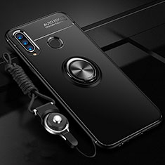 Funda Silicona Carcasa Ultrafina Goma con Magnetico Anillo de dedo Soporte T05 para Huawei Honor 20 Lite Negro