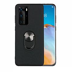 Funda Silicona Carcasa Ultrafina Goma con Magnetico Anillo de dedo Soporte T05 para Huawei P40 Pro Negro