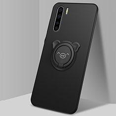 Funda Silicona Carcasa Ultrafina Goma con Magnetico Anillo de dedo Soporte T05 para Oppo Find X2 Lite Negro