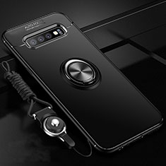 Funda Silicona Carcasa Ultrafina Goma con Magnetico Anillo de dedo Soporte T05 para Samsung Galaxy S10 Plus Negro