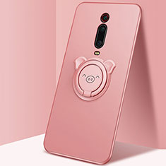 Funda Silicona Carcasa Ultrafina Goma con Magnetico Anillo de dedo Soporte T05 para Xiaomi Mi 9T Pro Rosa