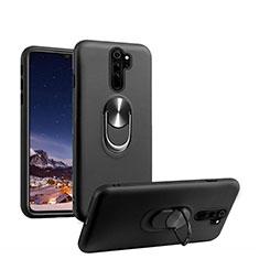 Funda Silicona Carcasa Ultrafina Goma con Magnetico Anillo de dedo Soporte T05 para Xiaomi Redmi Note 8 Pro Negro