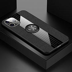 Funda Silicona Carcasa Ultrafina Goma con Magnetico Anillo de dedo Soporte T06 para Apple iPhone 11 Pro Negro