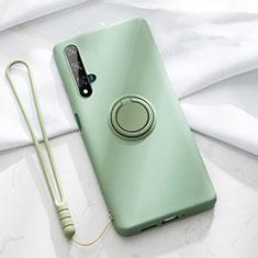 Funda Silicona Carcasa Ultrafina Goma con Magnetico Anillo de dedo Soporte T06 para Huawei Honor 20 Verde