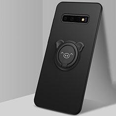 Funda Silicona Carcasa Ultrafina Goma con Magnetico Anillo de dedo Soporte T06 para Samsung Galaxy S10 Negro