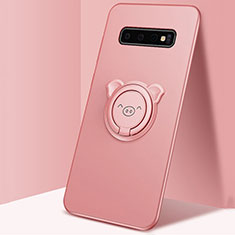 Funda Silicona Carcasa Ultrafina Goma con Magnetico Anillo de dedo Soporte T06 para Samsung Galaxy S10 Plus Rosa