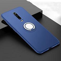 Funda Silicona Carcasa Ultrafina Goma con Magnetico Anillo de dedo Soporte T06 para Xiaomi Mi 9T Pro Azul