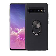 Funda Silicona Carcasa Ultrafina Goma con Magnetico Anillo de dedo Soporte T07 para Samsung Galaxy S10 Plus Negro