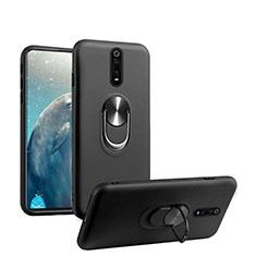 Funda Silicona Carcasa Ultrafina Goma con Magnetico Anillo de dedo Soporte T08 para Xiaomi Mi 9T Pro Negro