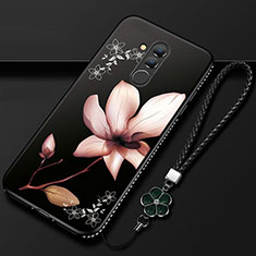 Funda Silicona Gel Goma Flores Carcasa H02 para Huawei Mate 20 Lite Negro