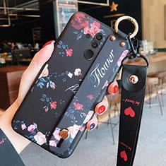 Funda Silicona Gel Goma Flores Carcasa H04 para Huawei Mate 20 Lite Negro