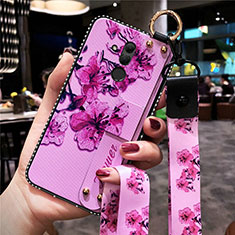 Funda Silicona Gel Goma Flores Carcasa H08 para Huawei Mate 20 Lite Rosa Roja