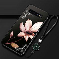 Funda Silicona Gel Goma Flores Carcasa K01 para Samsung Galaxy S10 Marron
