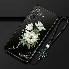 Funda Silicona Gel Goma Flores Carcasa K01 para Xiaomi Mi 10 Pro Blanco
