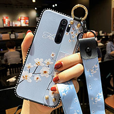 Funda Silicona Gel Goma Flores Carcasa K01 para Xiaomi Redmi Note 8 Pro Azul Cielo