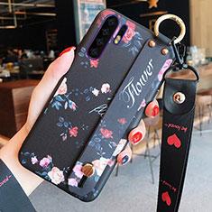Funda Silicona Gel Goma Flores Carcasa K02 para Huawei P30 Pro Negro