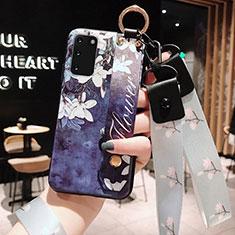 Funda Silicona Gel Goma Flores Carcasa M01 para Samsung Galaxy S20 5G Azul