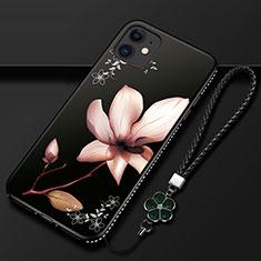Funda Silicona Gel Goma Flores Carcasa para Apple iPhone 12 Marron
