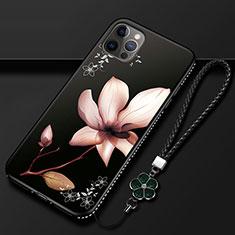 Funda Silicona Gel Goma Flores Carcasa para Apple iPhone 12 Pro Max Marron