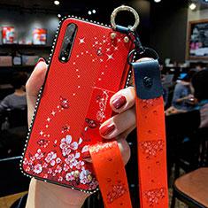 Funda Silicona Gel Goma Flores Carcasa para Huawei Enjoy 10S Rojo