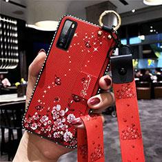 Funda Silicona Gel Goma Flores Carcasa para Huawei Enjoy 20 Pro 5G Rojo