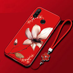 Funda Silicona Gel Goma Flores Carcasa para Huawei Honor 20 Lite Rojo