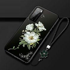 Funda Silicona Gel Goma Flores Carcasa para Huawei Honor Play4 5G Blanco