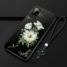 Funda Silicona Gel Goma Flores Carcasa para Huawei Honor Play4 Pro 5G Blanco