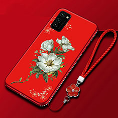 Funda Silicona Gel Goma Flores Carcasa para Huawei Honor View 30 Pro 5G Rojo