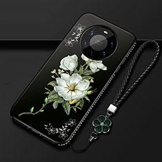 Funda Silicona Gel Goma Flores Carcasa para Huawei Mate 40 Pro+ Plus Negro