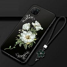 Funda Silicona Gel Goma Flores Carcasa para Huawei P40 Lite Blanco