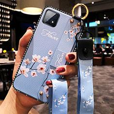 Funda Silicona Gel Goma Flores Carcasa para Oppo A73 5G Azul Claro