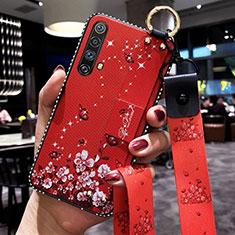 Funda Silicona Gel Goma Flores Carcasa para Realme X50 5G Rojo