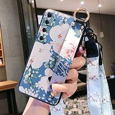 Funda Silicona Gel Goma Flores Carcasa para Xiaomi Mi 10 Ultra Azul