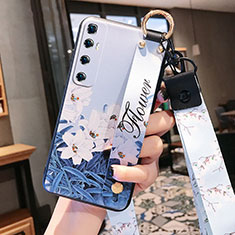 Funda Silicona Gel Goma Flores Carcasa para Xiaomi Mi 10 Ultra Azul Cielo