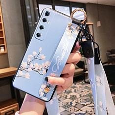 Funda Silicona Gel Goma Flores Carcasa para Xiaomi Mi 10 Ultra Azul Claro