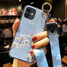 Funda Silicona Gel Goma Flores Carcasa S01 para Apple iPhone 12 Azul Claro