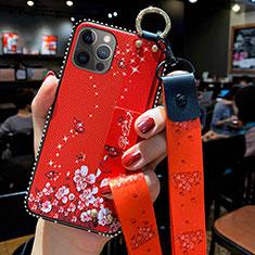 Funda Silicona Gel Goma Flores Carcasa S01 para Apple iPhone 12 Pro Rojo