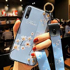 Funda Silicona Gel Goma Flores Carcasa S01 para Huawei Enjoy 10 Azul Cielo