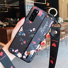 Funda Silicona Gel Goma Flores Carcasa S01 para Huawei Enjoy 20 Pro 5G Negro