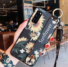 Funda Silicona Gel Goma Flores Carcasa S01 para Huawei Enjoy Z 5G Amarillo