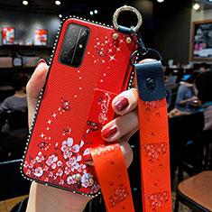 Funda Silicona Gel Goma Flores Carcasa S01 para Huawei Honor 30S Rojo